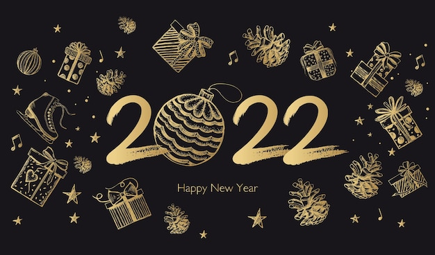 Nieuwjaar 2022 geschenkdozen instellen handgetekende illustratie