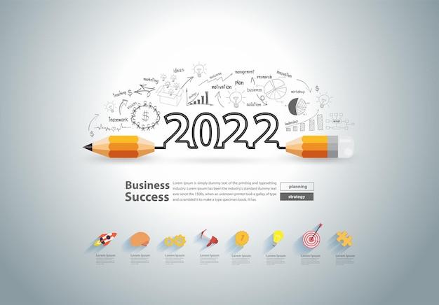 Nieuwjaar 2022 met creatief potloodontwerp bij het tekenen van grafieken grafieken bedrijfssucces strategie plan ideeën concept, vectorillustratie moderne lay-out sjabloonontwerp