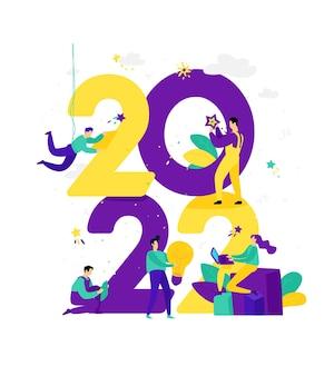 Nieuwjaar 2022 ontmoeting met het nieuwe jaar zakenmensen begroeten kerstmis en nieuwjaar new horizons voorbereiding voor de vakantie