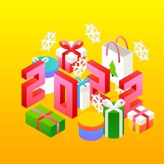 Nieuwjaar 2022 presenteert concept. vectorillustratie van winter vakantie isometrie wenskaart.