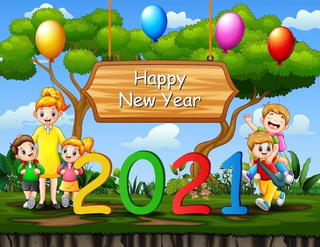 Nieuwjaar achtergrond met een leraar en een student