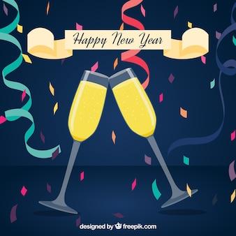 Nieuwjaar achtergrond met een toast