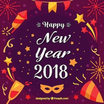 Nieuwjaar achtergrond met feest elementen