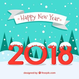 Nieuwjaar achtergrond met sneeuw bos en rode letters