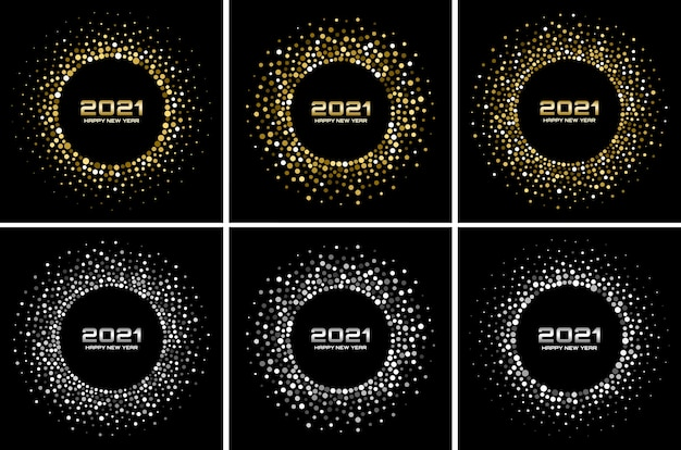 Nieuwjaar achtergrond set. groet. glanzende deeltjes