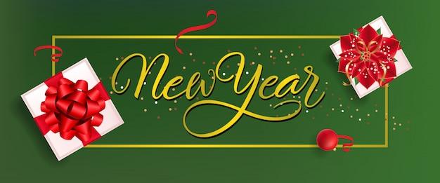 Nieuwjaar bannerontwerp. rode snuisterij, confetti