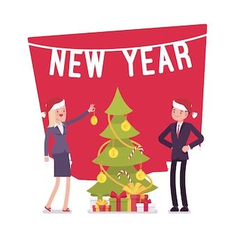Nieuwjaar boom geld decoratie