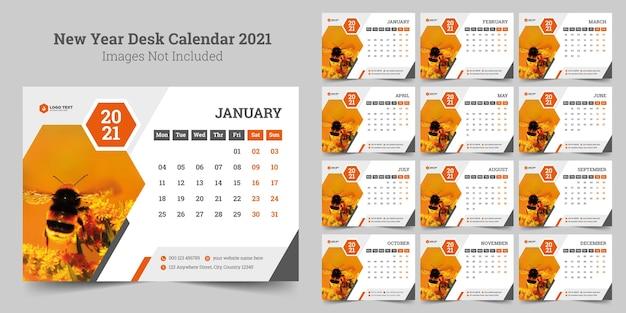 Nieuwjaar bureau kalendersjabloon