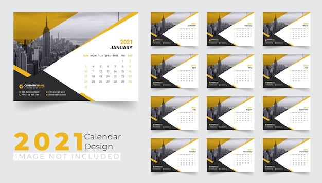 Nieuwjaar bureaukalender ontwerpsjabloon 2021