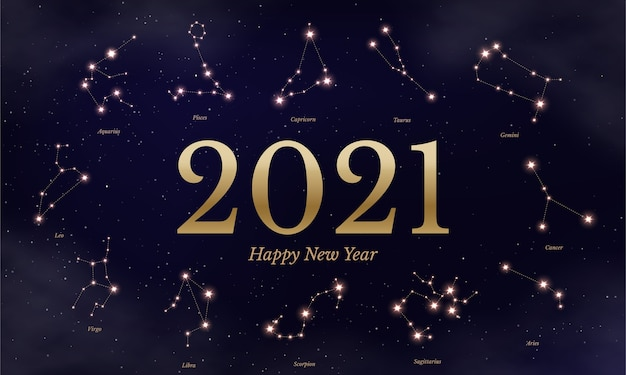 Nieuwjaar dierenriem kalender illustratie, astrologische symbolen op donkerblauwe sterrenhemel achtergrond, twaalf horoscooptekens.