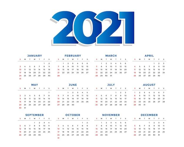 Nieuwjaar eenvoudige kalendersjabloon