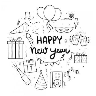 Nieuwjaar element met doodle stijl