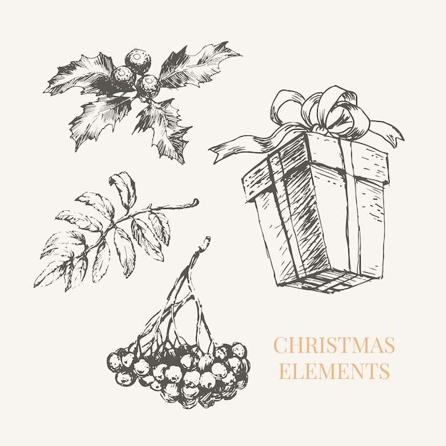 Nieuwjaar en kerst set schets illustratie