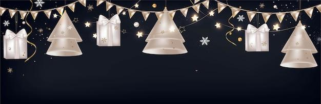 Nieuwjaar en kerstdecoratie banner