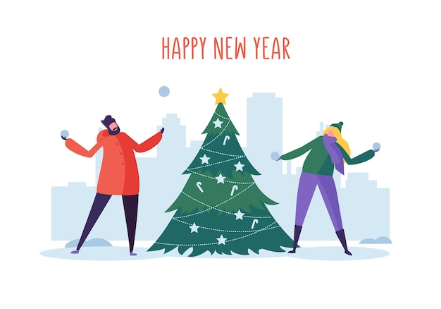 Nieuwjaar en kerstfeest met platte mensen karakters sneeuwvlokken spelen in de buurt van de kerstboom
