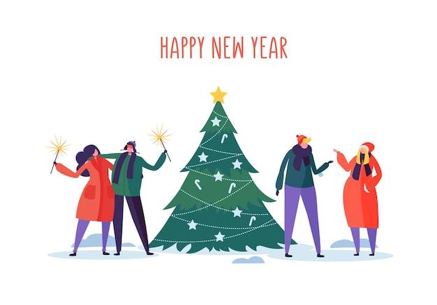 Nieuwjaar en kerstfeest met platte mensen tekens vieren