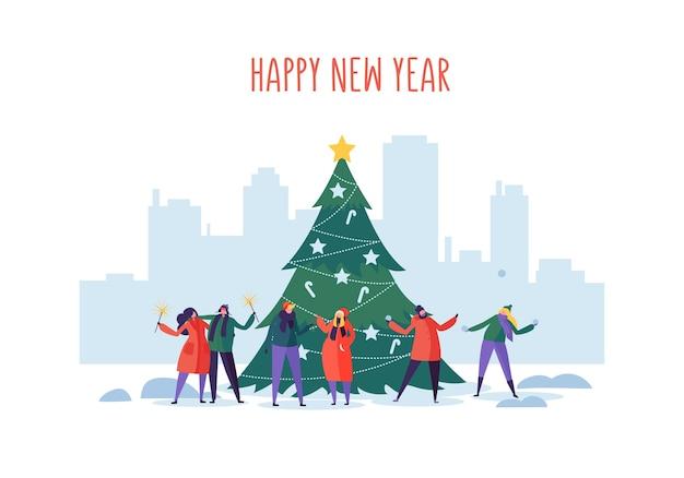 Nieuwjaar en kerstfeest op stadsgezicht met platte mensen tekens vieren