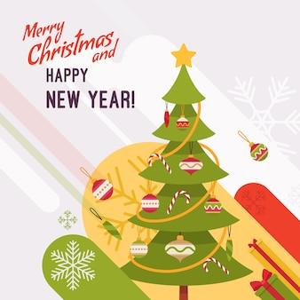 Nieuwjaar en kerstkaart illustratie