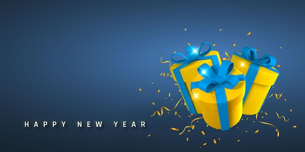 Nieuwjaar en kerstmis achtergrond. 3d-realistische geschenkdozen met strik en confetti. vector illustratie.