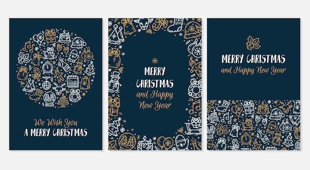 Nieuwjaar en kerstmis blauwe wenskaarten set met vector iconen