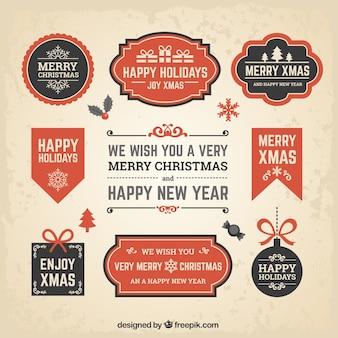 Nieuwjaar en kerstmis flat banners