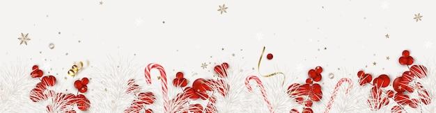 Nieuwjaar en kerstmis horizontale banner saint nicholas day samenstelling met kerstversiering op een wit