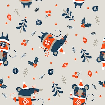 Nieuwjaar en kerstmis naadloos patroon.