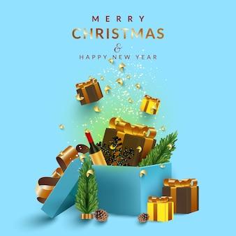 Nieuwjaar en kerstmis. realistische geschenkdozen. open geschenkdoos vol met feestelijk decoratief object.