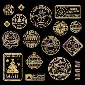 Nieuwjaar en kerstmis vector vintage postzegels op zwart