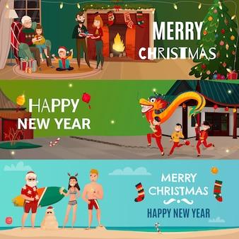 Nieuwjaar en kerstmisbanners