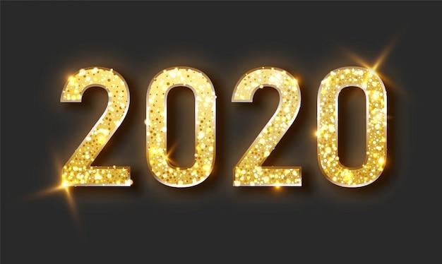 Nieuwjaar glanzende achtergrond met gouden klok en glitter.