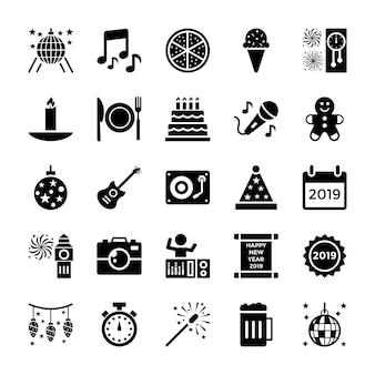 Nieuwjaar glyph icons pack