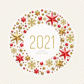 Nieuwjaar groet illustratie. nieuwjaarsgroet in frame dat is gemaakt van vakantiedecor.