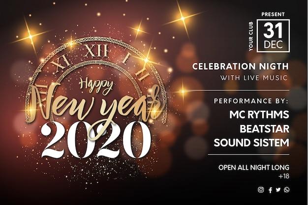 Nieuwjaar horizontale poster achtergrond