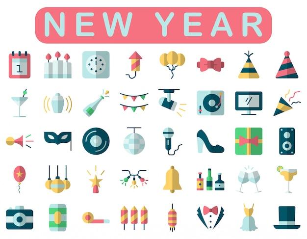 Nieuwjaar iconen set, vlakke stijl