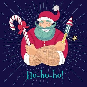 Nieuwjaar in schetsstijl. hipster getatoeëerde kerstman. grappige cartoon, karakter, snoep, voetzoeker, vuurwerk. hand getekende illustratie.