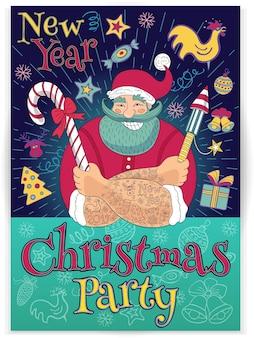 Nieuwjaar in schetsstijl. hipster getatoeëerde kerstman. kerstfeest, grappige cartoon, karakter, snoep, voetzoeker, vuurwerk. hand getekende illustratie.