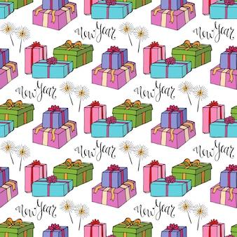 Nieuwjaar inpakpapier. geschenk naadloze patroon
