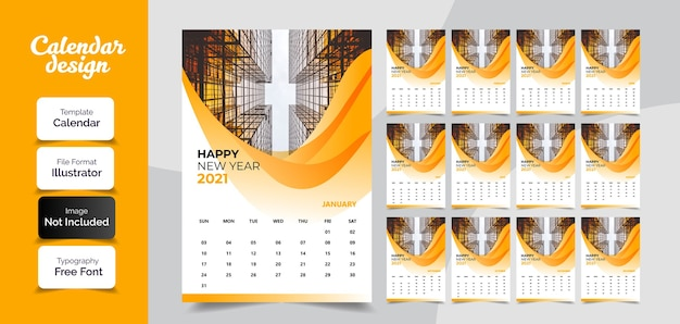 Nieuwjaar kalender wanddecoratie