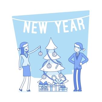 Nieuwjaar kantoor boom illustratie