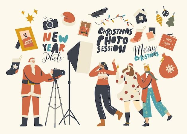 Nieuwjaar, kerst fotosessie concept. happy girl friends company characters poseren in studio met fotograaf in santa claus kostuum en professionele apparatuur. lineaire mensen vectorillustratie