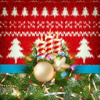 Nieuwjaar kerstdecoratie. kerstmismalplaatje tegen gebreide achtergrond. illustratie voor nieuwjaarsdag, kerstmis, wintervakantie, oudejaarsavond, silvester, etc. bestand inbegrepen