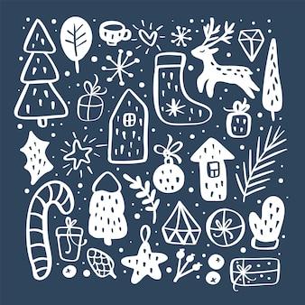 Nieuwjaar kerstkaart vector overzicht icon set decoratieve elementen voor wintervakantie voor design