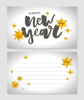 Nieuwjaar kerstmis belettering kalligrafie borstel tekst vakantie sticker gouden illustratie