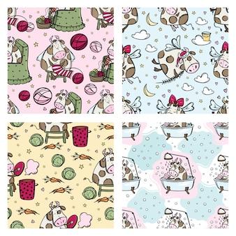 Nieuwjaar koe patroon set