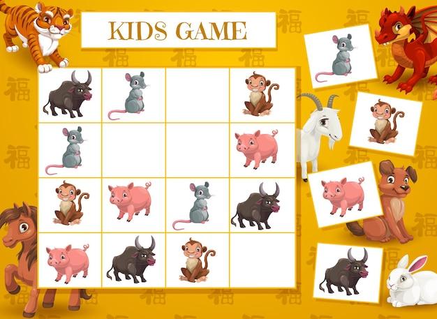 Nieuwjaar kruiswoordraadselspel voor kinderen met chinese dierenriemdieren