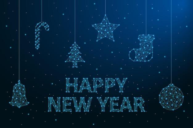 Nieuwjaar laag poly kaart 2020 veelhoekige draadframe mesh illustratie met kerstversiering