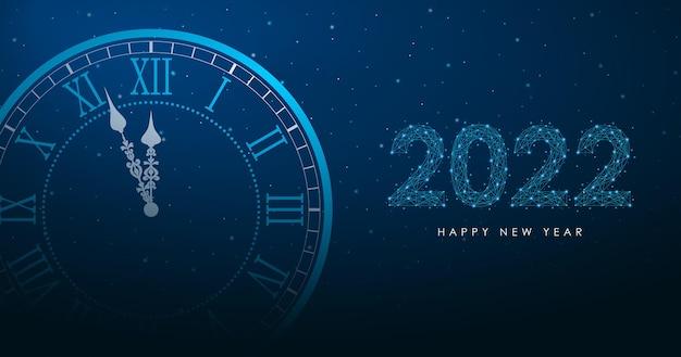 Nieuwjaar merry christmas-illustratie met ronde klok en 2022-nummer door veelhoekig draadframe mesh