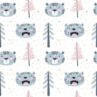 Nieuwjaar naadloos patroon met kerstboom en blauwe ruggegraten tijger in scandinavische trendy stijl
