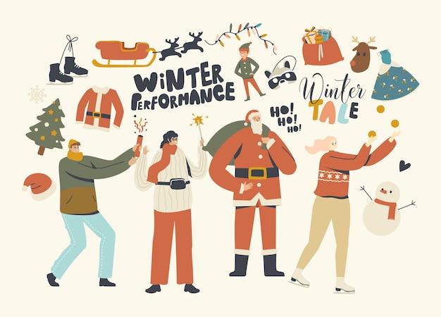 Nieuwjaar of kerstmis bash. gelukkige personages vieren feest met plezier en dansen op versierde dennenboom met kerstman en vuurwerk, geschenken geven, familie-evenement. lineaire mensen vectorillustratie